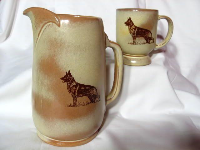 Frankoma German Shepherd  Decorated Desert Gold Pitcher & Mug Set