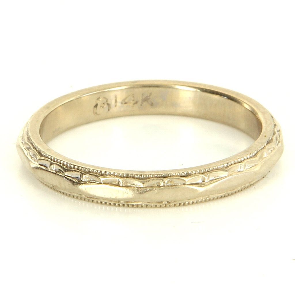 vintage 14 karat white gold wedding band stack ring fine estate jewelry used 65 - Used Wedding Rings For Sale
