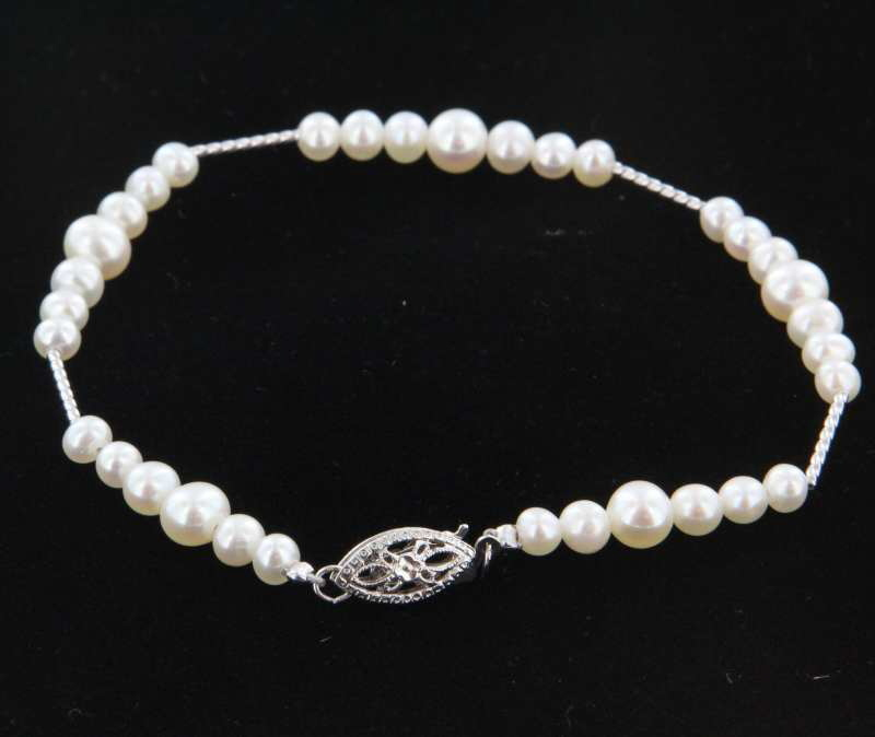 Chic Fine Estate 14 Karat White Gold Freshwater Pearl Link Bracelet Jewelry Heirloom