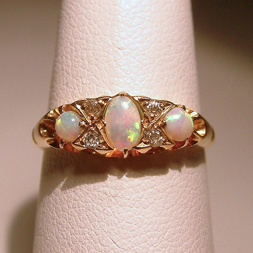 Antique Victorian 18 Karat Yellow Gold Opal Diamond Bridge Ring c1902 Old