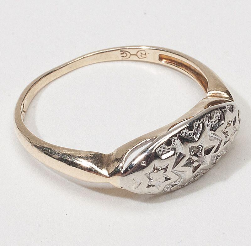 Art Deco 10 Karat Gold Diamond Star Ring Vintage Old Jewelry SOLD
