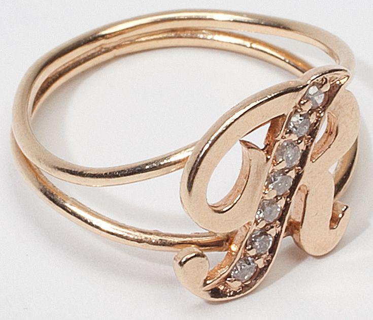 Vintage 14 Karat Gold Letter R Initial Diamond Ring Estate SOLD on