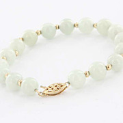 Estate 14 Karat Yellow Gold Jade Cocktail Bracelet Fine Jewelry Pre-Owned Used