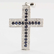 Estate 18 Karat White Gold Diamond Sapphire Religious Cross Pendant Fine Jewelry