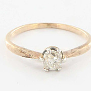 Vintage Art Deco 14 Karat Yellow Gold Cushion Diamond Engagement Ring Estate Bridal 5
