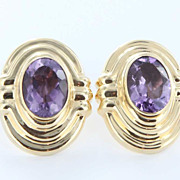 Vintage 14 Karat Yellow Gold Big Amethyst Cocktail Earrings Estate Fine Jewelry