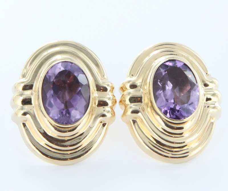 Vintage 14 Karat Yellow Gold Big Amethyst Cocktail Earrings Estate Fine Jewelry