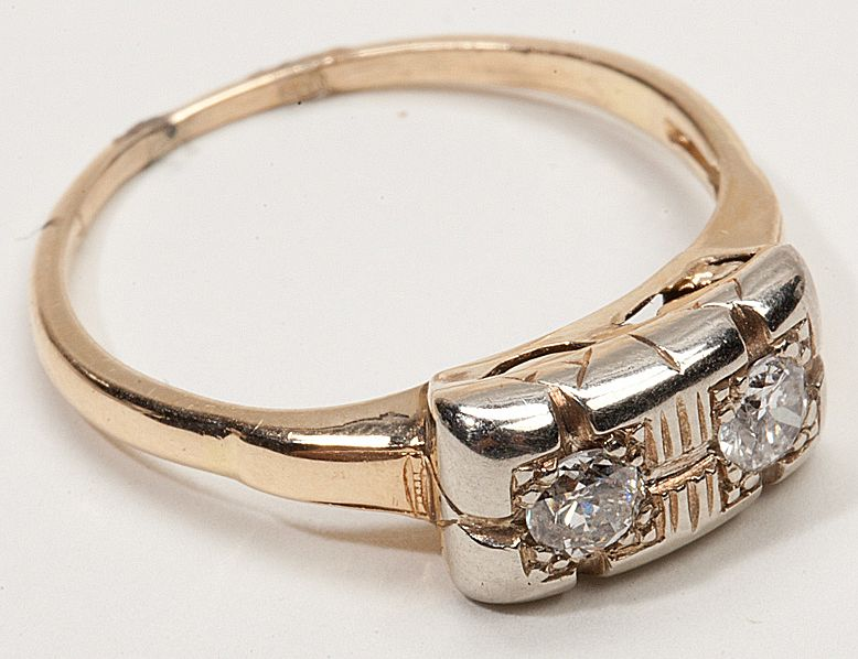 Art Deco 14 Karat Gold Diamond Ring Estate Fine Jewelry Old