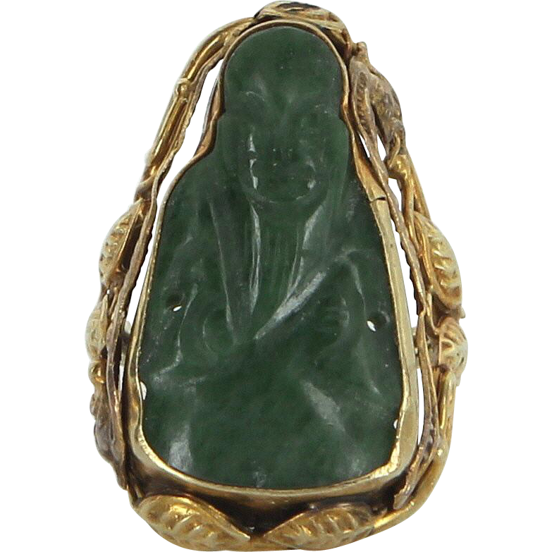 Carved Jade Buddha Ring Vintage 14 Karat Yellow Gold Estate Fine Jewelry Pre Owned