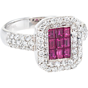 Effy Ruby Diamond Square Cocktail Ring Estate 14 Karat White Gold Fine Jewelry