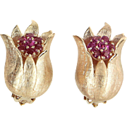 Ruby Tulip Clip Earrings Vintage 14 Karat Yellow Gold Estate Fine Jewelry Heirloom