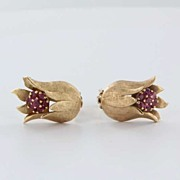 Vintage 14 Karat Yellow Gold Ruby Tulip Clip Earrings Estate Fine Jewelry Heirloom