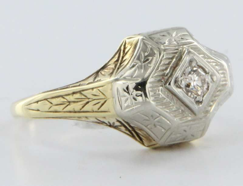 Art Deco 14 Karat Yellow White Gold Diamond Ring Vintage Fine Jewelry Heirloom Old