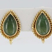 Vintage Estate Jade 14 Karat Yellow Gold Screw Back Earrings Fine Old Heirloom Used Jewelry