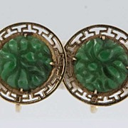 Vintage Estate Carved Jade Flower 14 Karat Yellow Gold Screw Back Earrings Fine Old Jewelry