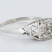 Art Deco 14 Karat White Gold Diamond Filigree Ring Vintage Fine Jewelry Old