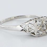 Art Deco 14 Karat White Gold Diamond Filigree Ring Vintage Fine Jewelry Old