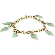 Jade Leaf Charm Bracelet Vintage 14 Karat Yellow Gold Estate Fine Jewelry Heirloom