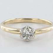 Vintage 14 Karat Yellow White Gold Diamond Engagement Ring Estate Fine Jewelry Heirloom Fine 7.5