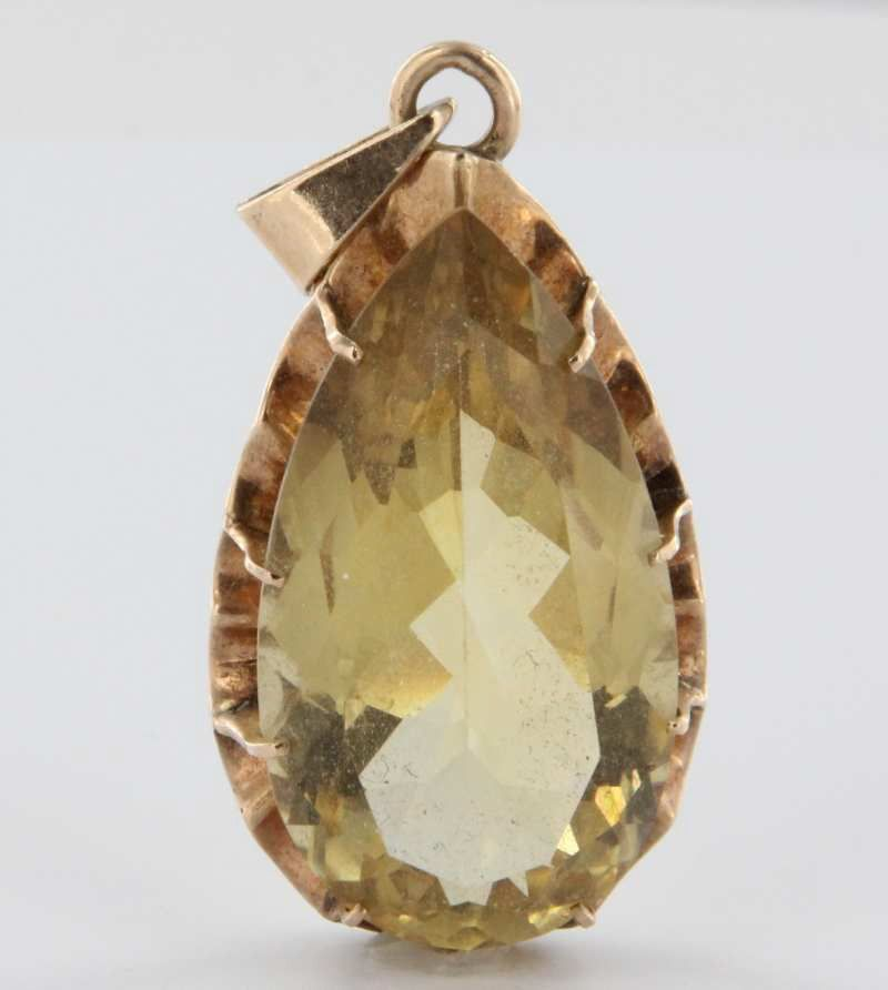 Vintage 14 Karat Yellow Gold Big Citrine Pendant Estate Fine Jewelry Heirloom Large