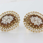 Vintage 14 Karat Yellow Gold Cameo Flower Clip Earrings Estate Fine Jewelry Heirloom