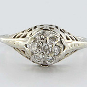 Art Deco 14 Karat White Gold Diamond Cluster Filigree Ring Vintage Jewelry