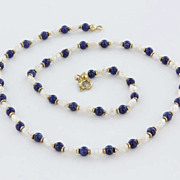 Vintage 14 Karat Gold Lapis Lazuli Freshwater Pearl Choker Necklace Estate Jewelry