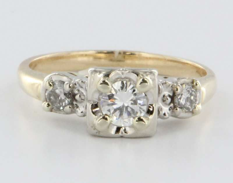 Vintage 14 Karat Yellow White Gold Diamond Engagement Ring Estate Fine Bridal Jewelry Heirloom