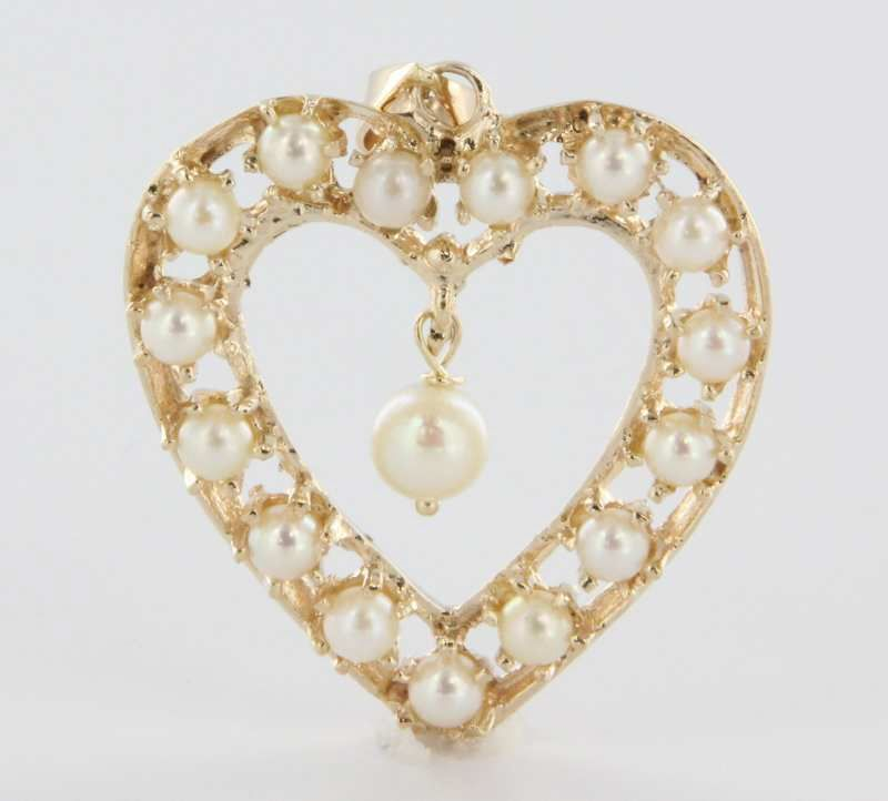 Vintage 14 karat yellow gold cultured pearl heart pendant estate vintage 14 karat yellow gold cultured pearl heart pendant estate fine sold ruby lane aloadofball Image collections