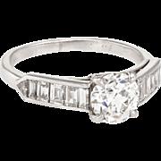 Cartier Vintage Diamond Engagement Ring 900 Platinum Estate Fine Signed Jewelry