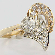 Vintage Estate 14 Karat Yellow Gold Diamond Cocktail Ring Fine Jewelry Pre-Owned Used