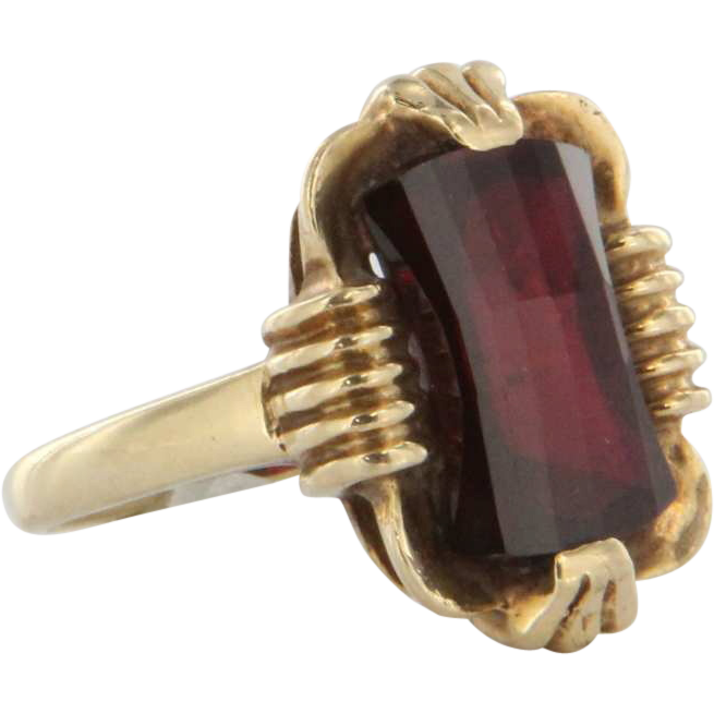 Vintage 10k Yellow Gold Lab Ruby Cocktail Ring Fine Estate Jewelry Pre Owned 5
