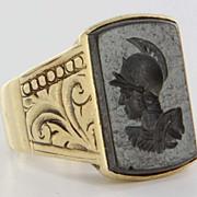 Art Deco 14 Karat Yellow Gold Hematite Mens Ring Fine Estate Jewelry Heirloom 7.5