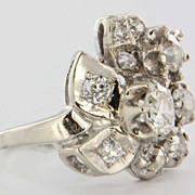 Art Deco 14 Karat White Gold Diamond Cocktail Ring Vintage Fine Jewelry Heirloom