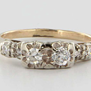 Vintage 14 Karat Yellow Gold Diamond Ring Fine Estate Fine Jewelry Heirloom Sz 6.5