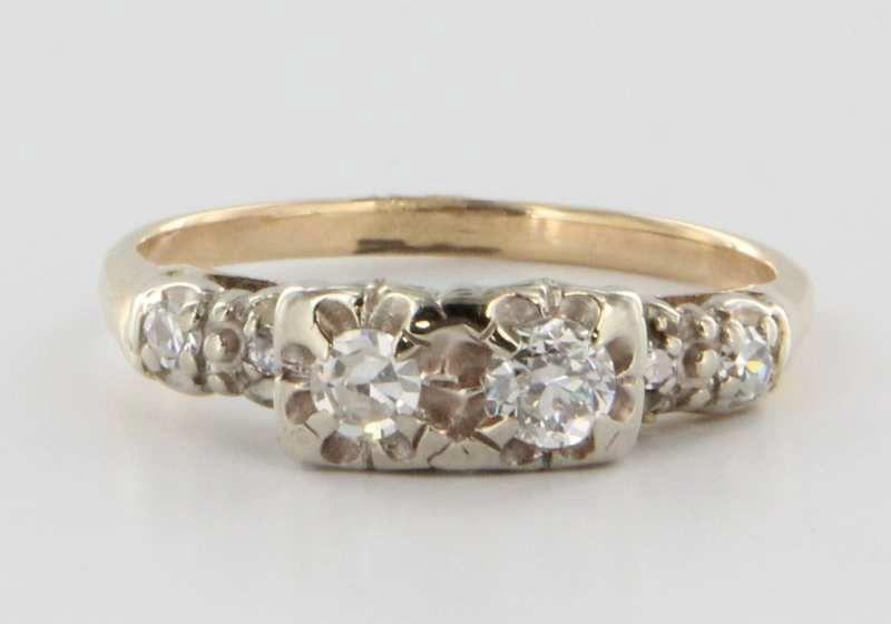 Vintage 14 Karat Yellow Gold Diamond Ring Fine Estate Fine Jewelry Heirloom Sz 6.5