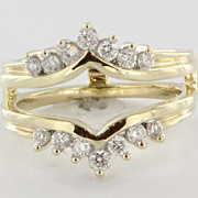 Vintage 14 Karat Yellow Gold Diamond Wedding Ring Guard Wrap Bridal Jewelry Fine 6.5