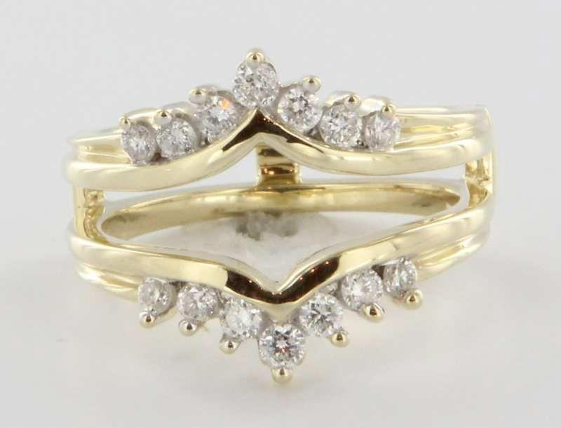 Vintage 14 Karat Yellow Gold Diamond Wedding Ring Guard Wrap Bridal Jewelry Fine 6.5