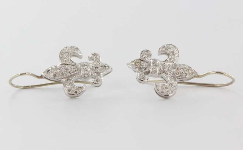 Estate 18 Karat White Gold Diamond Fleur De Lis Earrings Fine Sold Ruby Lane
