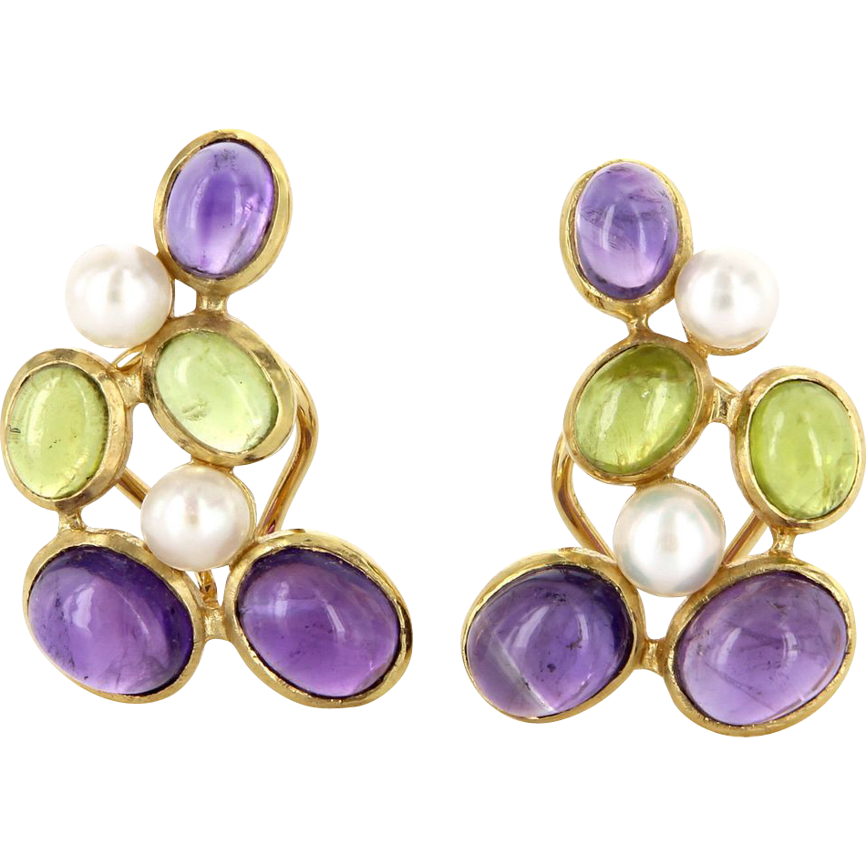 Vintage 18 Karat Yellow Gold Amethyst Peridot Cultured Pearl Cocktail Earrings