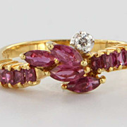 Vintage 18 Karat Yellow Gold Ruby Diamond Stack Band Ring Estate Fine Jewelry Sz 7