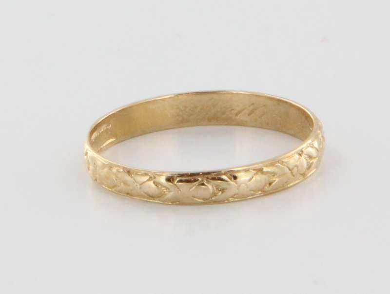 vintage deco 14k yellow gold flower wedding band