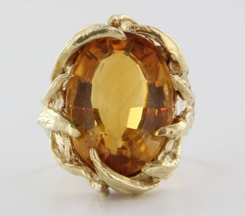 Vintage 14 Karat Yellow Gold Citrine Cocktail Ring Fine Estate Jewelry Pre-Owned Sz 6
