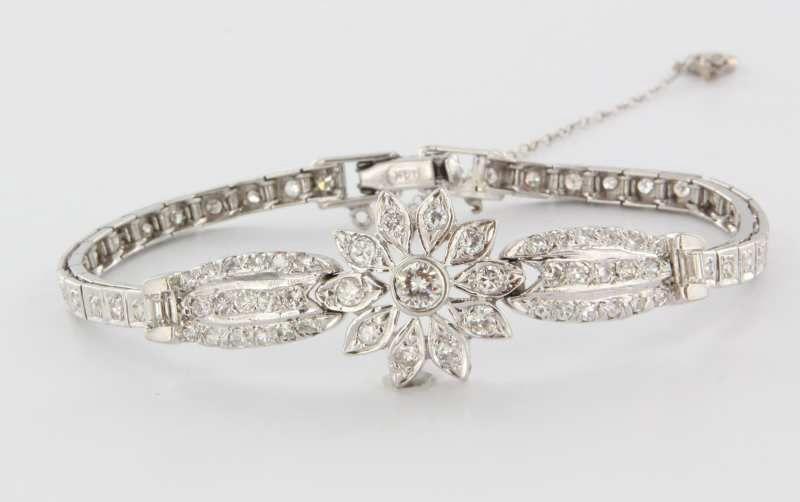 Vintage 14 Karat White Gold Diamond Flower Bracelet Fine Estate