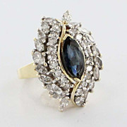 Vintage 14 Karat Yellow Gold Sapphire Diamond Cocktail Ring Estate Fine Jewelry 7