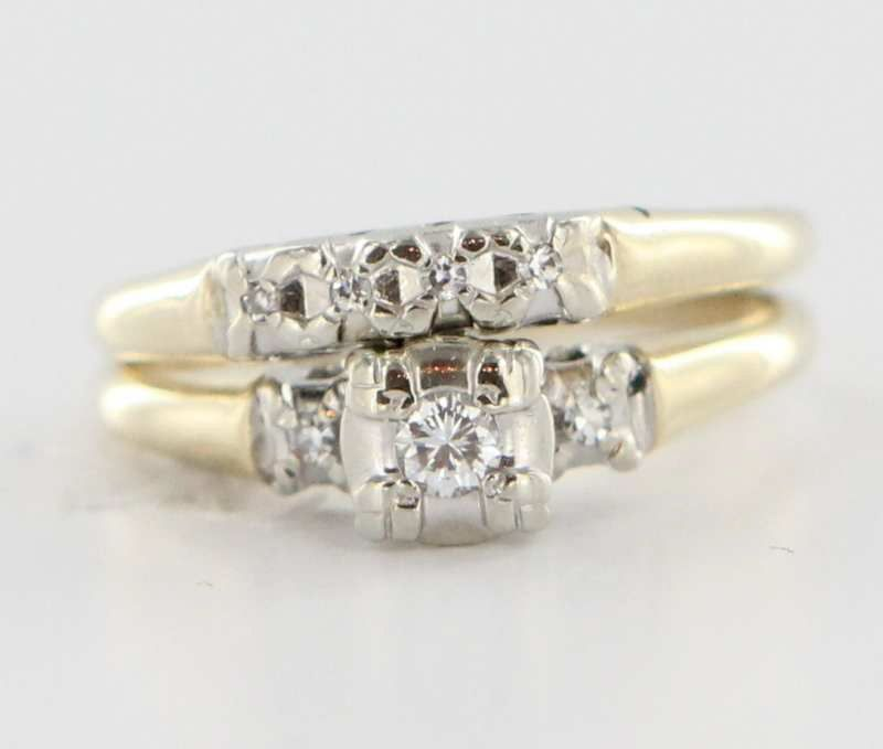 Vintage 14 Karat Yellow White Gold Diamond Wedding Ring Set Fine