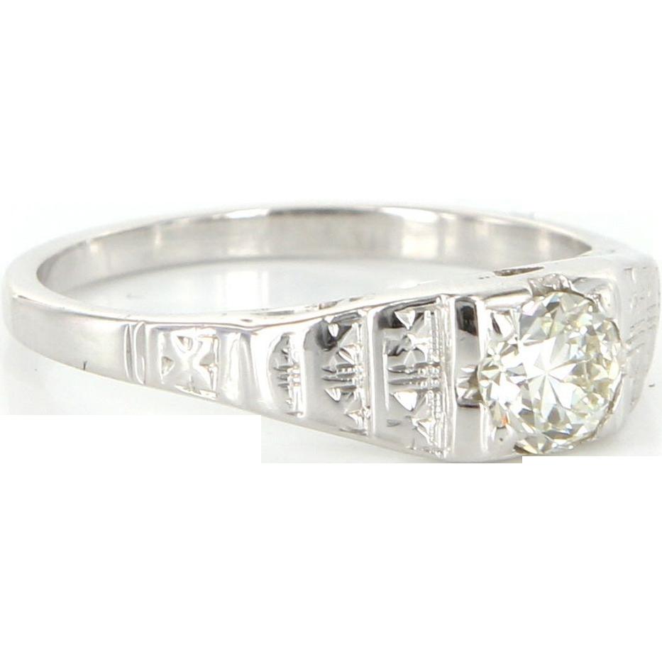 Art Deco 14k White Gold Diamond Engagement Right Hand Ring Vintage Estate