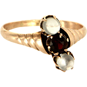 Antique Victorian 10 Karat Rose Gold Moonstone Garnet Ring Fine Vintage Jewelry