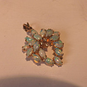 Vintage 14 Karat Yellow Gold Diamond Opal Wreath Style Pendant Fine Estate Jewelry