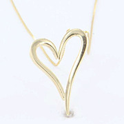 Estate 14 Karat Yellow Gold Heart Pendant Necklace Fine Jewelry Pre-Owned Vintage